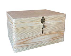 abschließbare Aufbewahrungsbox/ Holzkiste ohne Grifflöcher Kiefer, Gr. 3 (Schloss 2-antik)