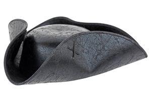 Piraten-Hut Schwarz Pirat Dreispitz Seeräuber-Mütze Kunstleder Piratenhut Black Verkleidung Karibik Herren Damen Kostüm