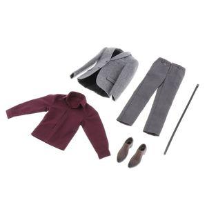 1/6 Grauer Anzug Set Hosen Kleidung Hemd Krawattengürtel Für 12 Zoll Actionfiguren