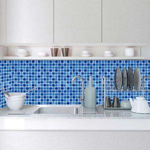 Mllaid 10pc Selbstklebende Fliesentapete 12 Stile, Haus Küche Ölbeweis Badezimmer Wasserdicht Innen Funktionelle Dekoration Abreißbar Wiederverwendbar Quadratisch Glatt PVC Fliesen Aufkleber