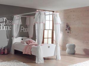 Vipack Set Amori bestehend aus: Himmelbett und Textil-Vorhang Weiß