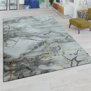 Kurzflor Wohnzimmer Teppich Modern Marmor Design Abstraktes Muster Grau Gold, Grösse:160x230 cm