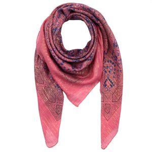 Baumwolltuch - Indisches Muster 1 - pink Lurex gold - quadratisches Tuch