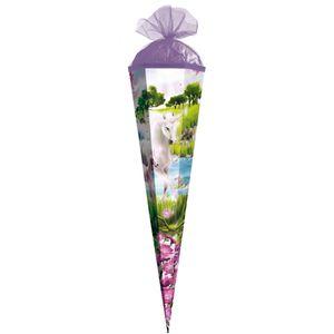 Geschenk-Schultüte klein Einhorn mit Fohlen 50 cm - 6-eckig Tüllverschluss - Zuckertüte