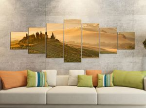 Leinwandbild 7 Tlg 280x100cm Landschaft Belvedere Toskana Leinwand Bilder Teile teilig Kunstdruck Druck Vlies Wandbild mehrteilig 9YB234, Leinwandbild 7 Tlg:ca. 280cmx100cm