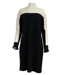 BETTY & CO Kleid modisches Damen Strick-Kleid Langarm Schwarz/ Weiß, Größe:42