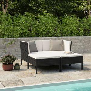 4-tlg. Gartenmöbel Set Garten-Lounge-Set mit Auflagen Poly Rattan Schwarz