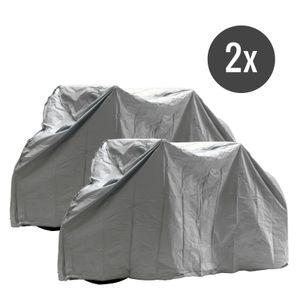Fahrrad Abdeckplane Fahrradgarage 2er Set wasserdicht robust, 210x110 cm, grau, PEVA, Klettverschluss, 239 g