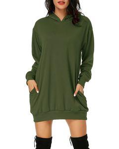 Damen Hoodie Kleid Pullover Langarm Sweatshirts Kapuzenpullover Tops Herbst Mini Kleid, Armeegrün-XL