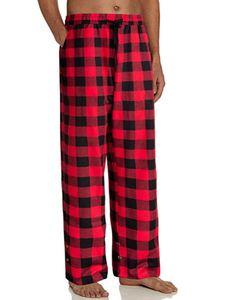 Herren Lounge Pyjama Pj Hose Bottom Kariert Loose Nachtwäsche Hose Schlafhosen,Farbe:Rot,Größe:M