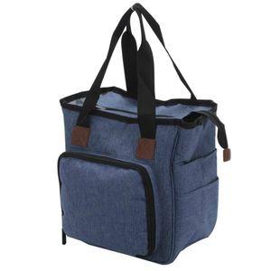 Stricktasche zum Häkeln Stricken Tasche Aufbewahrungskorb für Wolle Garn Fäden Reisetasche Farbe : Blau