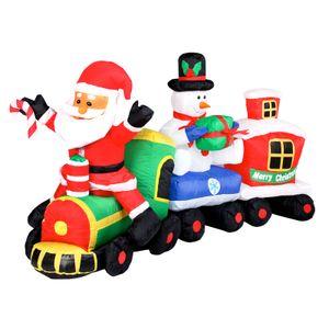 Weihnachtszug mit Weihnachtsmann und Schneemann (210 cm lang)