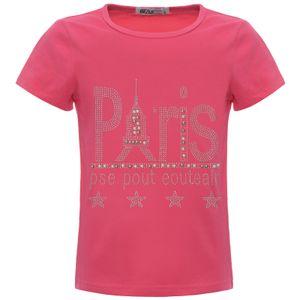 BEZLIT Mädchen Sommer T-Shirt mit Glitzer und Kunst-Perlen Pink 128