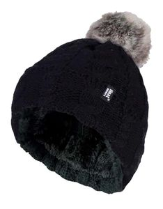 HEAT HOLDERS - Damen Bunt Muster Winter Outdoor Fleece Warm Beanie Mütze mit Pompon Bommel in 7 Farben