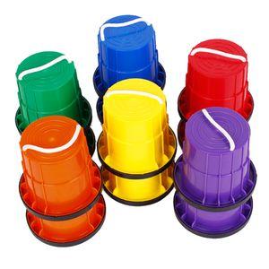 HAPPYMATY 6 Paar Topfstelzen für Kinder Rutschfeste Stelzen mit Gummirand Verdickte Kunststoff Laufdollis Kindersport Kindergarten Eimerstelzen