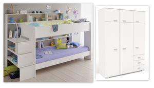 Kinderzimmer Twin 54 weiß Etagenbett Doppelstockbett Kleiderschrank