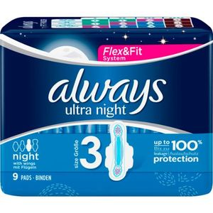 Always Ultra Night mit Flügeln Damenbinden 9ST