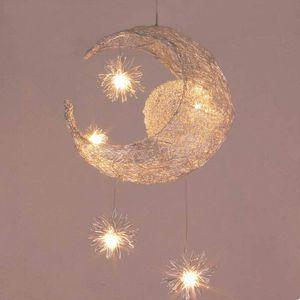 Kinder Pendelleuchte Deckenleuchte Mond Modern LED Deckenlampe Sterne Wolke Licht Anhänger Hängende Decke Warm Kinderzimmer Wohnzimmer Dekoration