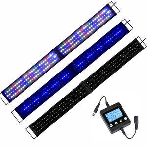 120-140CM LED Aquarium Beleuchtung Lampe mit Timer, Klappbar , Aufsatzleuchte Licht Lampe Pflanzen Vollspektrum Aquarien Plant Fisch , RGB Bunt