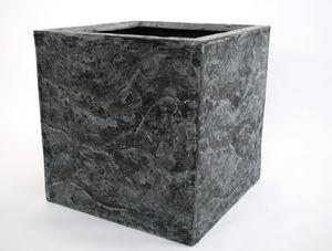 Pflanzkübel, Blumenkübel Fiberglas Stein-Optik quadratisch 60x60x60cm anthrazit grau.
