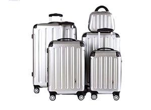 5 Teiliges Kofferset M L XL XXL + Beautycase (Silber)
