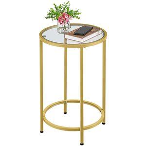 Yaheetech Runder Glastisch mit goldnem Metallgestell Beistelltisch Sofatisch Gold