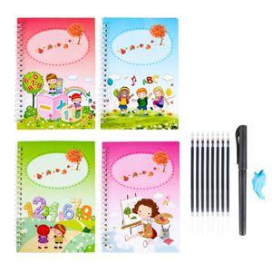 Magische Kalligraphie, die wiederverwendet werden kann Handschrift Copybook Set für Kinder Kalligraphisches Schreiben von Briefen, Magic Practice Writing -H02