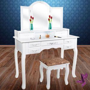 Kesser® Schminktisch Kosmetiktisch Frisierkommode ✓ Spiegel ✓ Schubladen ✓ Hocker | Schminkspiegel | Stylingstation | Farbe: Weiß, Modell :KE-ST-ER