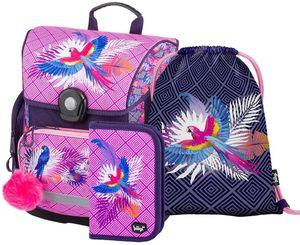 Baagl Schulranzen Mädchen Set 3 Teilig, Schultasche ab 1. Klasse, Grundschule Ranzen mit Brustgurt, Ergonomischer Schulrucksack (Papagei)