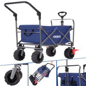 AREBOS Bollerwagen Faltbar Handwagen Klappbar mit Teleskop Schubstange Blau