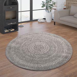 In- & Outdoor-Teppich, Rundes Flachgewebe Mit Sisal-Look Skandi-Design, In Grau, Größe:Ø 120 cm Rund