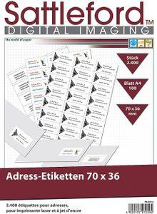 2400 Aufkleber Universal Adress-Etiketten 70x36 mm Adressetiketten Adressaufkleber Laser + Inkjet Drucker
