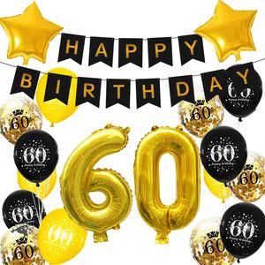 Oblique Unique 60. Geburtstag Party Deko Set - Happy Birthday Girlande + Zahl 60 Ballons + Konfetti Luftballons