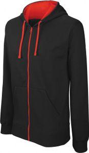 Kariban Herren Kapuzen Sweatshirt Bicolor mit Reißverschluss