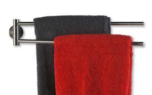 SOSmart24 JUST SILVER Handtuchhalter ohne Bohren aus Edelstahl 50 cm 2 armig - Silber Matt gebürstet - NORDIC MINIMALISM - Handtuchstange Bad WC