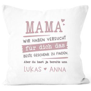Kissen-Bezug personalisiertes Geschenk Spruch Papa/Mama wir habe versucht für dich das beste Geschenk zu finden anpassbare Namen Dekokissen SpecialMe® Mama 2 weiß unisize