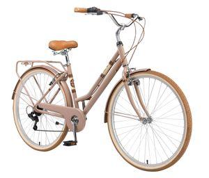 BIKESTAR City Stadt Fahrrad 28 Zoll | 18 Zoll Rahmen, 7 Gang Shimano Damen Holland Rad Retro Bike, V-Bremse, Gepäckträger | Braun