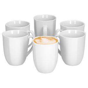 6er Set Kaffeebecher Lilli 350ml 80x80mm Kaffee Becher Porzellanbecher edles Markenporzellan weiß