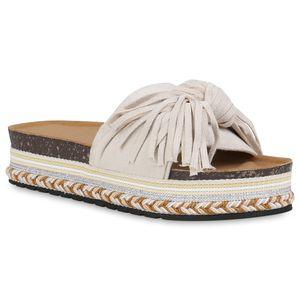 Mytrendshoe Damen Sandaletten Pantoletten Fransen Ethno Look Plateau Schuhe 834413, Farbe: Creme, Größe: 39