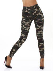Röhren Camouflage Skinny High Waist  Jeans im Destroyed-Look, Farbe: Camouflage, Größe: 36