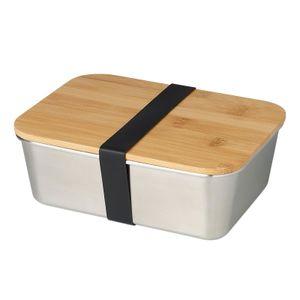 Echtwek Lunchbox EW-LB-1710  aus hochwertigem Edelstahl mit Bambusdeckel und Silikonband, Farbe:Edelstahl