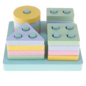 Hölzerne Geometrische Bunte Form & Farben Steckspiel Sortiert Stapelt Puzzles Holzspielzeug für Kinder ab 3 Jahre alt