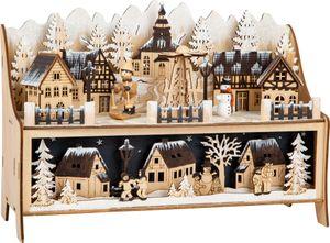 small foot 11790 Lampe Winterdorf mit Pyramide aus Holz, mit LED-Beleuchtung und Weihnachtspyramide, Weihnachtsdeko
