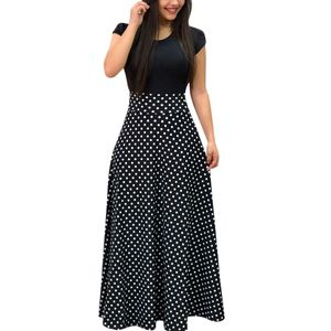 Damen Damen Kurzarm Farbe Spleißen Wave Point Cocktail Party Kleid Größe:XL,Farbe:Schwarz