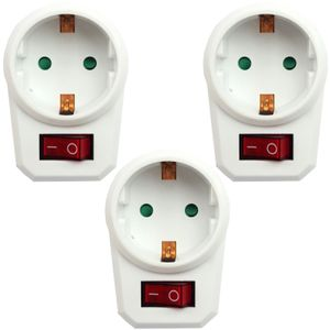 3 x Steckdosenschalter schaltbare Steckdose Steckerschalter Schalter Adapter Schuko