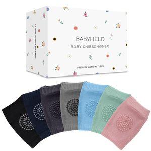 BABYHELD® Premium Knieschoner für Babys im 7er Set, Innovative Anti-Rutsch Krabbelhilfe mit Kniepolstern für Mädchen und Jungen – Verbessertes Konzept 2021