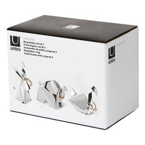 Umbra Origami Ringhalter, 3er Set, Ring Ablage, Ringablage, Schmuckablage, Zink, Chrome, 7.5 cm, 1010123-158