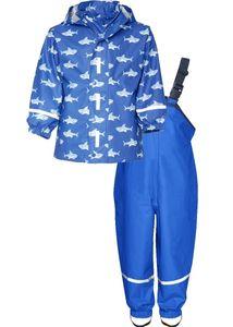 Playshoes Regen-Set Hai allover, in blau, Größe 92