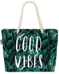 VOID XXL Strandtasche Good Vibes Palmen Shopper Tasche 58x38x16cm 23L Beach Bag Tropen Blätter Urwald, Kissen Farbe:Grün