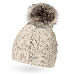 Damen Strick-Mütze gefüttert Fell-Bommel Kunstfell Winter-Mütze Bommelmütze Neverless® hell-beige unisize
